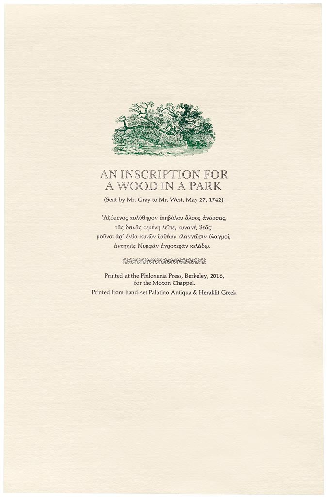 Thomas Gray (1742). An inscription for a wood in a park.